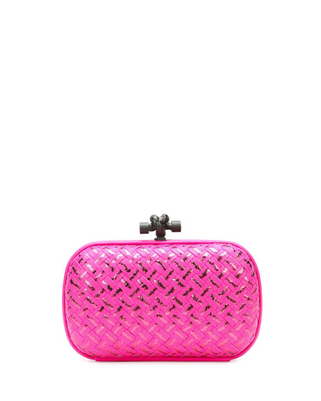 Bottega Veneta Woven Metallic Knot Clutch Bag, Hot Pink