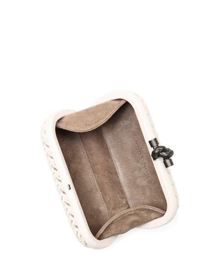 Woven Metallic Knot Clutch Bag, Light Gray
