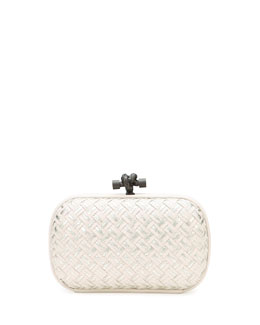 Bottega Veneta Woven Metallic Knot Clutch Bag, Light Gray