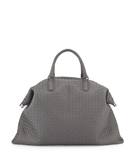 Bottega Veneta Maxi Convertible Woven Tote Bag, Gray