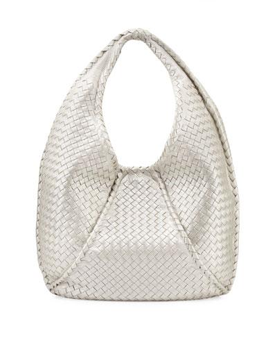 Bottega Veneta Cervo Large Metallic Hobo Bag, Pearl White
