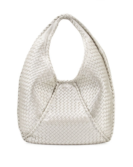 Cervo Large Metallic Hobo Bag, Pearl White