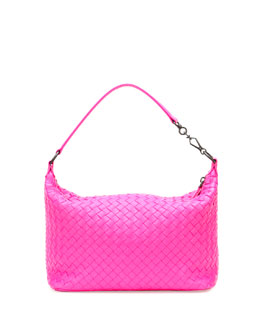 Bottega Veneta Small East-West Zip Hobo Bag, Hot Pink
