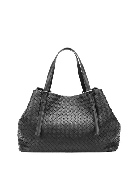 Bottega VenetaA-Shape Woven Tote Bag, Black