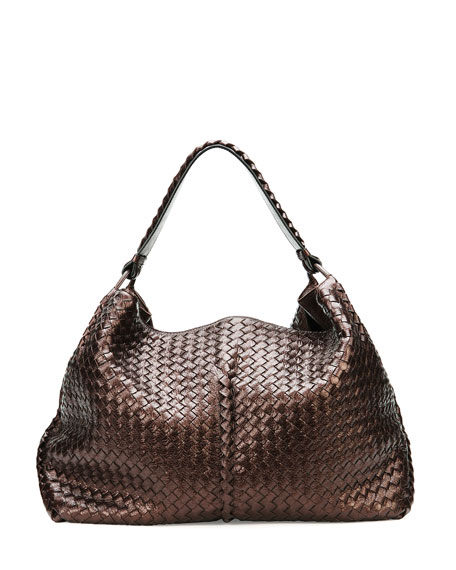 Large Metallic Cervo Shoulder Bag, Brown