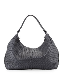 Bottega Veneta Cervo Large Metallic Shoulder Bag, Gunmetal