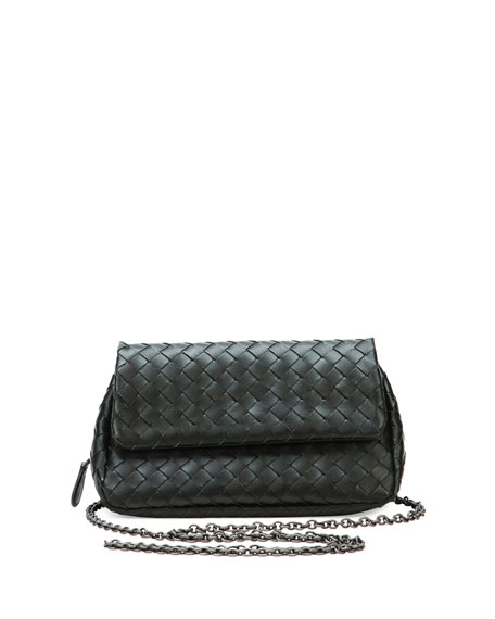 Bottega Veneta Intrecciato Small Chain Crossbody Bag, Black