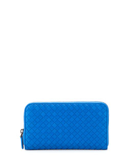 Bottega Veneta Intrecciato Continental Zip-Around Wallet, Cobalt Blue