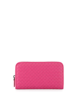 Bottega Veneta Continental Zip-Around Wallet, Hot Pink