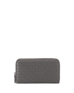 Bottega Veneta Continental Zip-Around Wallet, Gray