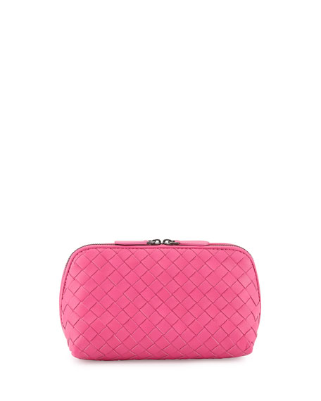 Intrecciato Medium Cosmetics Case, Hot Pink