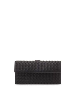 Bottega Veneta Woven Continental Flap-Tab Wallet, Black