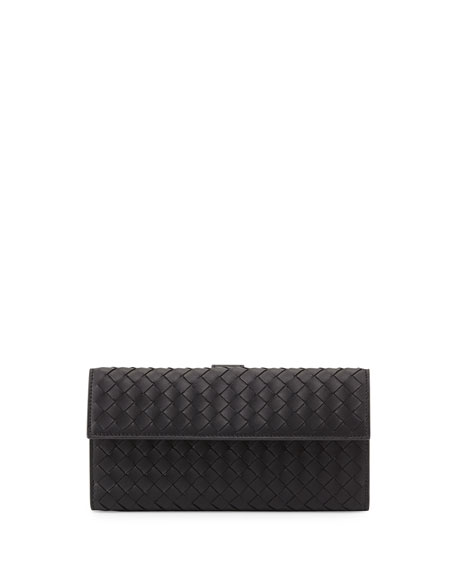 Woven Continental Flap-Tab Wallet, Black
