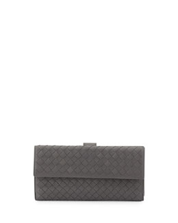 Bottega Veneta Woven Continental Flap-Tab Wallet, Gray
