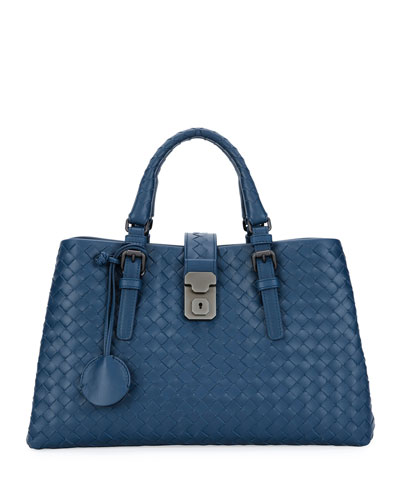 Bottega Veneta Roma Small Woven Compartment Tote Bag,