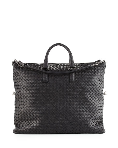 Bottega Veneta Medium Convertible Woven Tote Bag, Black