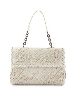 Bottega Veneta Olimpia Tobu Fringe Shoulder Bag, White