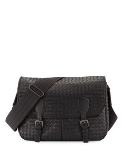 Bottega Veneta Gardena Woven Messenger Bag, Black