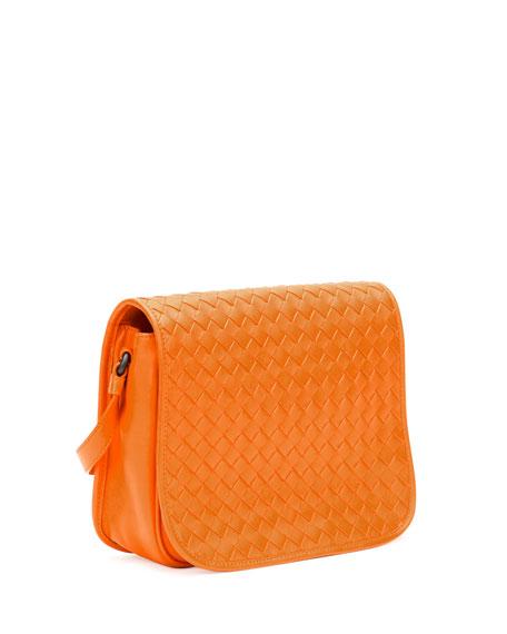 Small Woven Flap Crossbody Bag, Golden Yellow