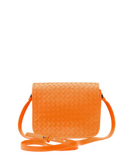 Bottega Veneta Small Woven Flap Crossbody Bag, Golden Yellow
