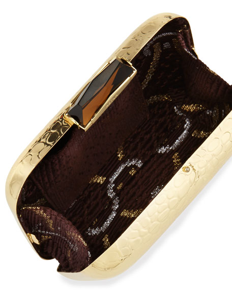 Morley Croc-Embossed Box Clutch Bag, Gold