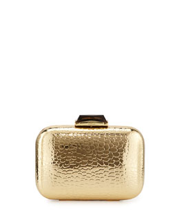 Kotur Morley Croc-Embossed Box Clutch Bag, Gold