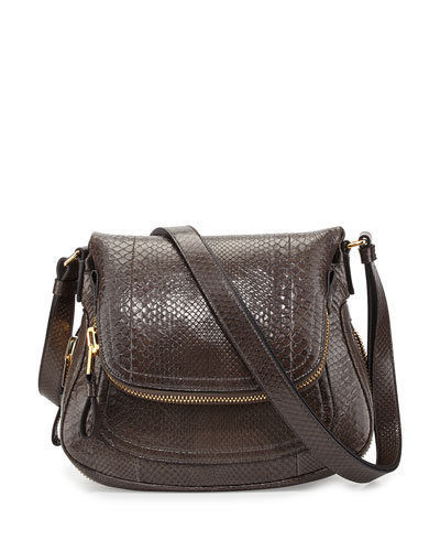 Tom Ford Jennifer Medium Python Shoulder Bag, Graphite