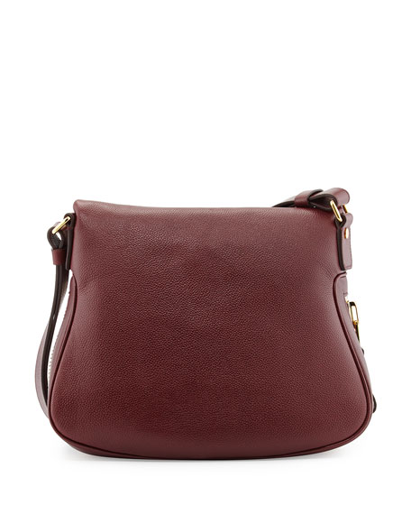 Jennifer Medium Leather Shoulder Bag, Red