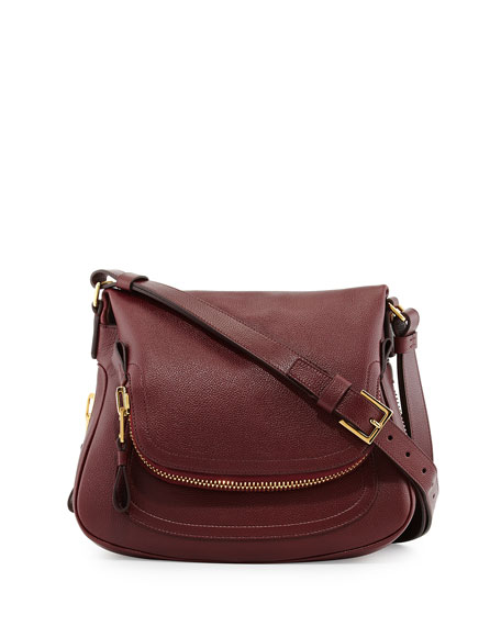 TOM FORD Jennifer Medium Leather Shoulder Bag, Red