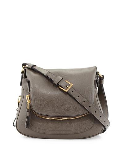 Tom Ford Jennifer Medium Leather Crossbody Bag, Graphite Dark Gray