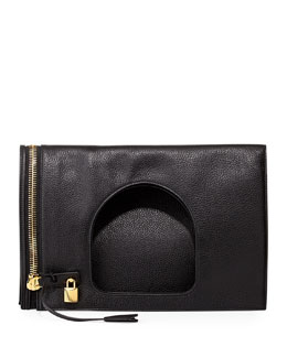 Tom Ford Alix Leather Padlock & Zip Shoulder Bag, Black