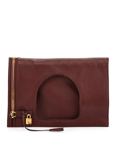 Tom Ford Alix Leather Padlock & Zip Fold-Over Bag, Red