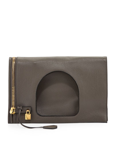 Tom Ford Alix Leather Padlock & Zip Fold-Over Bag, Graphite (Dark Gray )