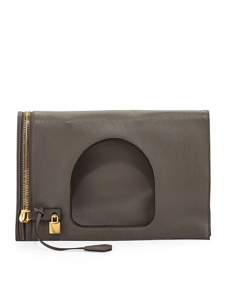 TOM FORD Alix Leather Padlock & Zip Fold-Over