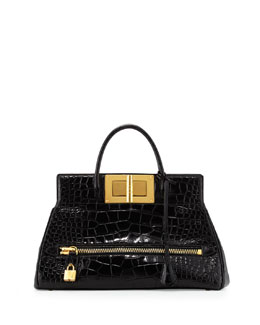 Tom Ford Natalia Alligator Doctor Bag, Black