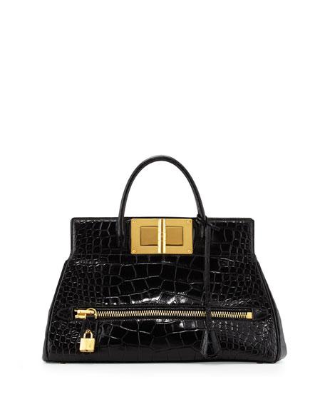 Natalia Alligator Doctor Bag, Black