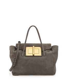 Tom Ford Natalia Soft Suede Turn-Lock Tote Bag, Gray