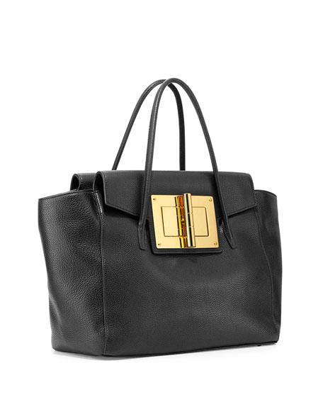 Natalia Turn Ford Tom Tote Leather Lock Bag Black Soft Sn5wZTv