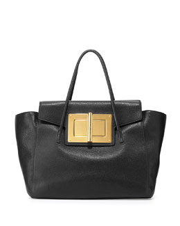 Tom Ford Natalia Soft Leather Turn-Lock Tote Bag, Black