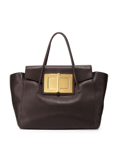 Tom Ford Natalia Soft Leather Turn-Lock Tote Bag, Dark Brown