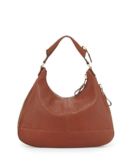 Jennifer Leather Hobo Bag, Brown