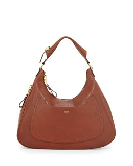 Tom Ford Jennifer Leather Hobo Bag, Brown
