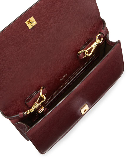 Jennifer Leather Zip Clutch Bag, Red