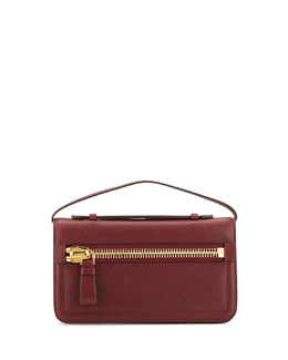 Tom Ford Jennifer Leather Zip Clutch Bag, Red