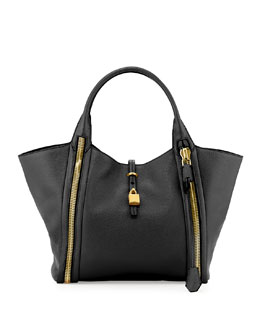 Tom Ford Amber Double-Zip Leather/Suede Tote Bag, Black