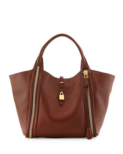 Tom Ford Amber Double-Zip Leather Tote Bag, Brown