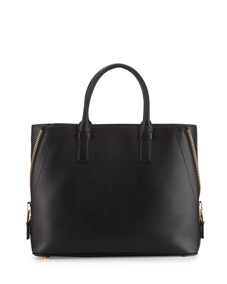TOM FORD Jennifer Medium Trap Calfskin Tote Bag, Black