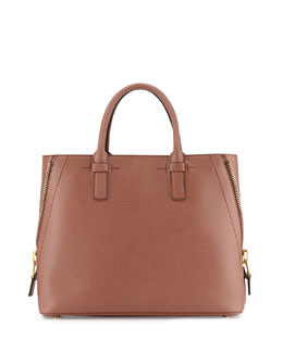 Tom Ford Jennifer Trap Calfskin Tote Bag, Rose