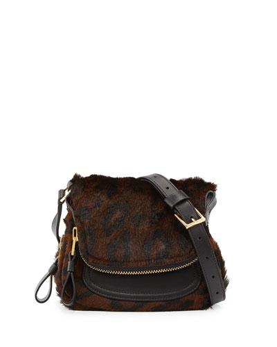 Jennifer Mini Calf Hair Crossbody Bag, Cognac/Brown