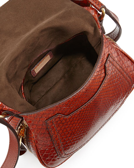 Jennifer Mini Python Crossbody Bag, Brown